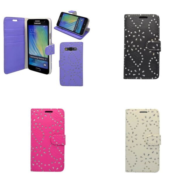 FOR SAMSUNG GALAXY J1 GLITTER IN VARIOUS COLOURS PU LEATHER WALLET CASE COVER