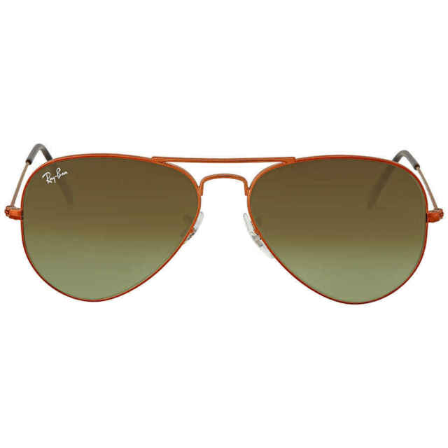 b02e26173b316 Ray-Ban 0rb3025 Aviator Large Metal Sunglasses Shiny Medium Bronze Green  Gradient Brown 55
