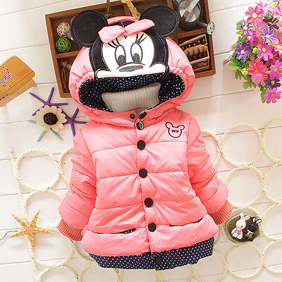 Kids Girls Baby Winter Cotton Mouse Hooded Cartoon Coat Jacket