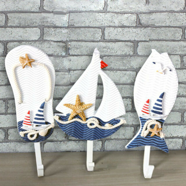 Wooden Nautical Coat Hat Clothes Towel Wall Hooks Hangers Hanging