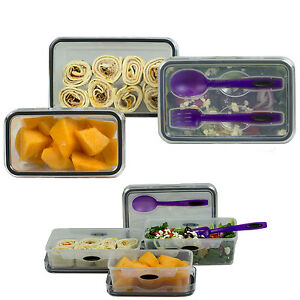 Food storage 8 piece set lunch box salad plastic container for Decor 8 piece lunch set