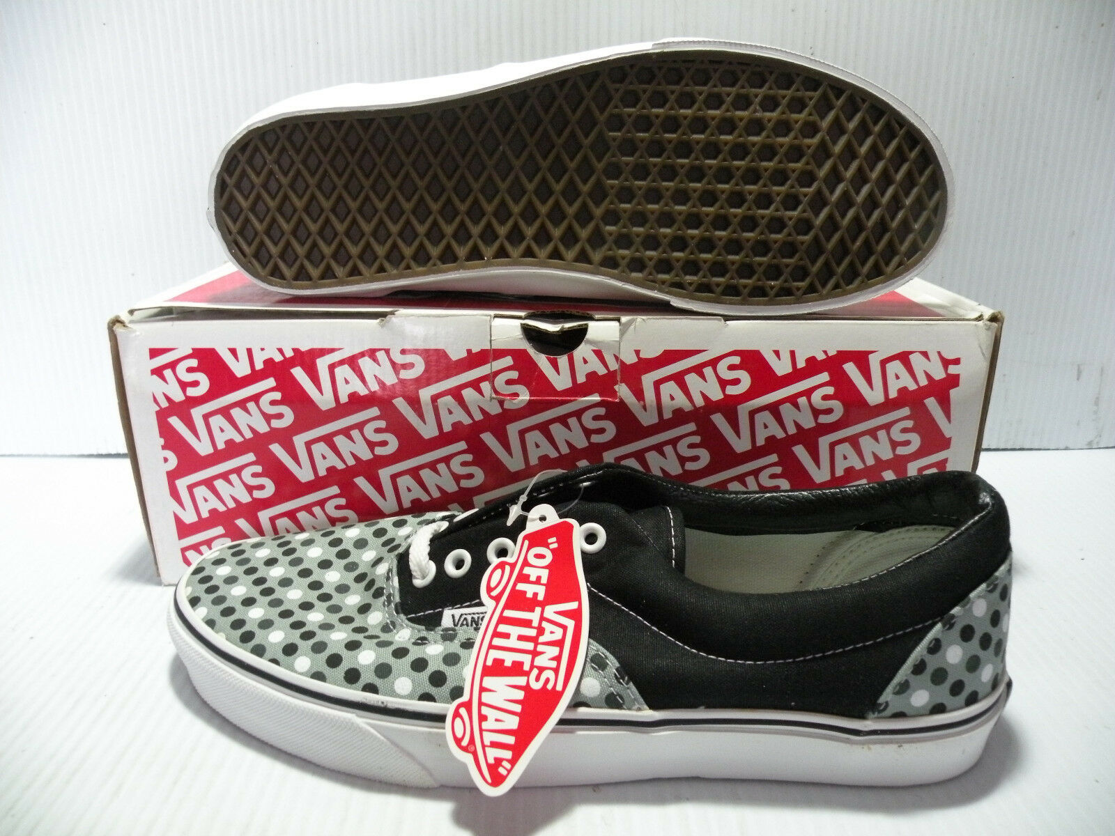 VANS ERA CLASSIC LOW POLKA DOTS MEN SHOES BLACK SLATE 872899 SIZE 11.5 NEW
