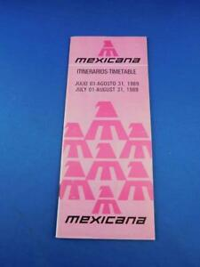 MEXICANA-AIRLINE-TIMETABLE-SCHEDULE-JULY-AUGUST-1989-ADVERTISING-TRAVEL
