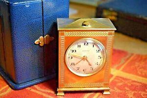 Rare Bronze Zenith Alarm Clock Original Leather Case