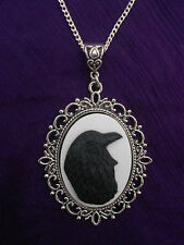 LARGE 40 X 30MM  BLACK ON WHITE RAVEN/CROW CAMEO NECKLACE GOTHIC/POE