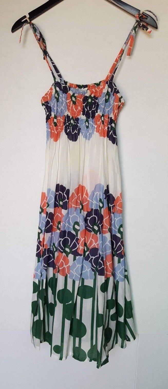 LILKA WOMEN'S TIE STRAP FLORAL PRINT SUMMER SUN DRESS MULTI COLOR SMALL