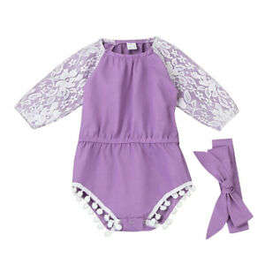 382db490a089 Newborn Toddler Infant Baby Girls Lace Splice Long Sleeve Romper ...