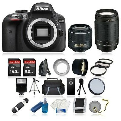 Nikon D3300 Kit Digital SLR Camera Body +4 Lens 18-55 VR II, 70-300mm +24GB NEW