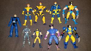 9-Vintage-1990-039-s-Marvel-Toy-Biz-Figures-X-Men-Wolverine-Apocalypse-Cyclopse