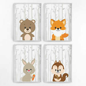 Details zu Kinderzimmer Bilder Wald Tiere Set Kunstdruck Poster Wandbild  Deko Baby Geschenk