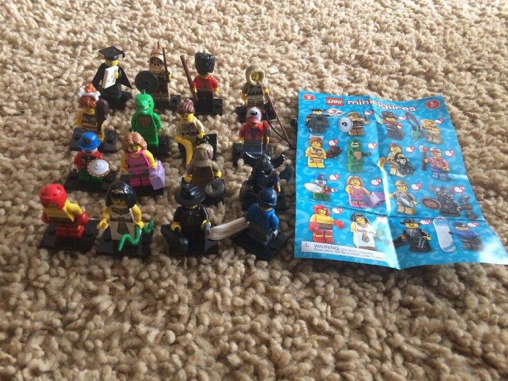 Lego Series 5 Complete set Of Minifigures Gangster Lizard Royal Guard 8805 Boxer