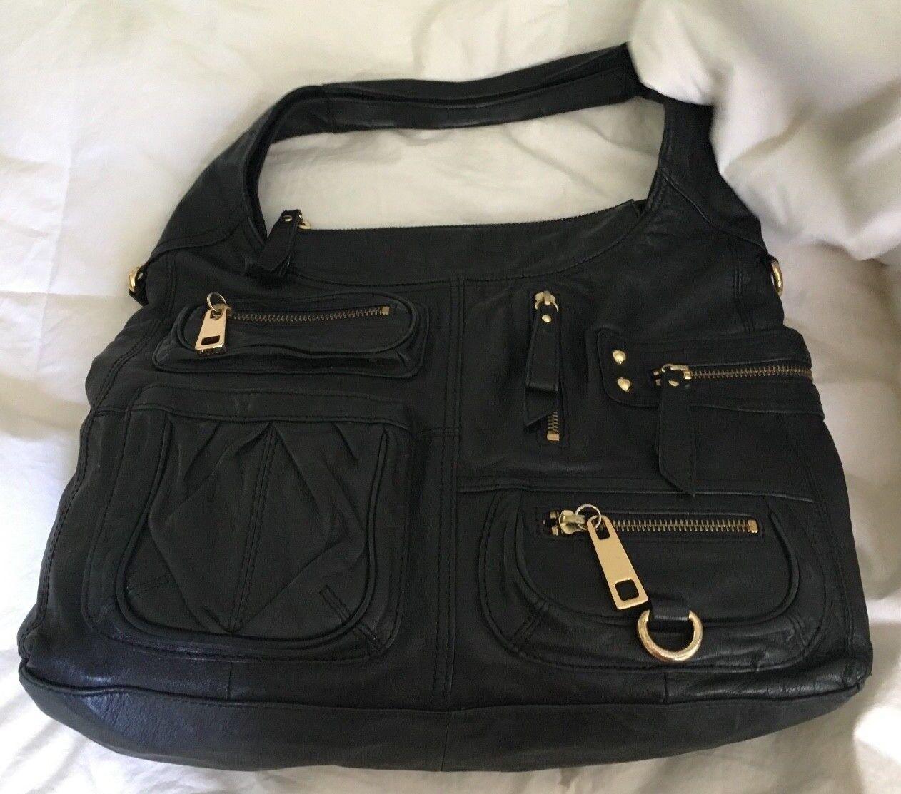 STEVEN by STEVEN MADDEN All Black Leather Multi-Pocket Hobo Handbag Purse Bag
