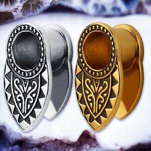 Oro Negro Tribal Azteca Oído Perforación túneles de carne camillas enchufes de metal TU166