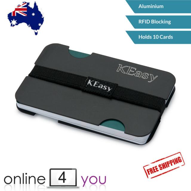 Slim Wallet Aluminium Case RFID Blocking Credit Card Holder ID Cover (black)