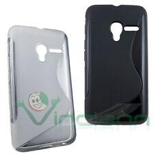 2x Custodia TPU WAVE nera+bianco per Vodafone Smart first 6 cover case gel CUT