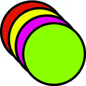 """SPECIAL 3.25/"""" Round Fluorescent Burst Neon Retail Sale Signs Cards 25 Each Color"""