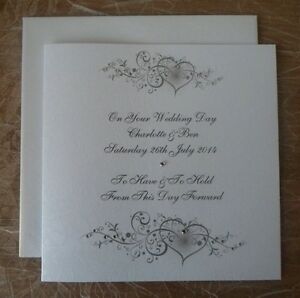 Hand-Made-6-Square-Wedding-Card-Personalised-Hearts-Swirl-Design