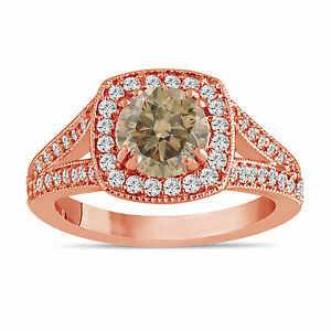 3f6cba0112079 Details about Champagne Brown Diamond Engagement Ring 1.58 Carat 14K Rose  Gold Halo Certified