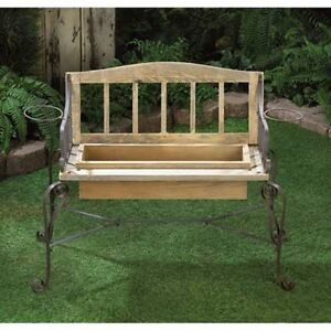 rustic outdoor wood iron metal flower pot planter plant stand box bench statue ebay. Black Bedroom Furniture Sets. Home Design Ideas