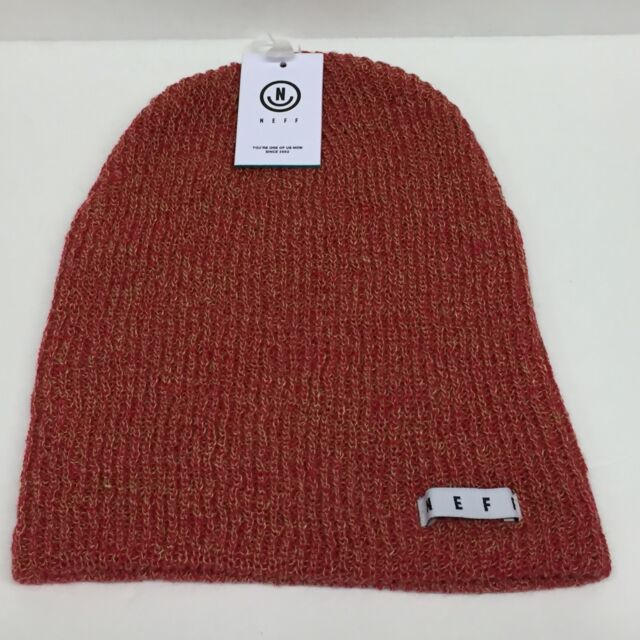 741bcb4787f Neff Unisex Fold Daily Heather Red Tan Beanie Rib Knit Hat Cuff Winter Snow