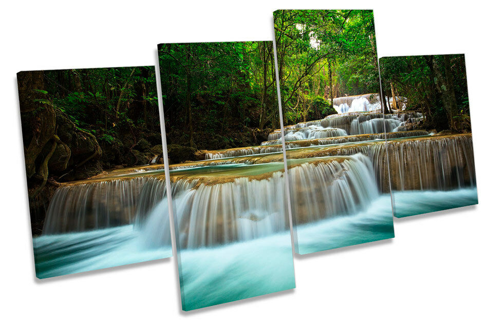 Thailand Forest River Waterfall MULTI CANVAS WALL ART Boxed Framed