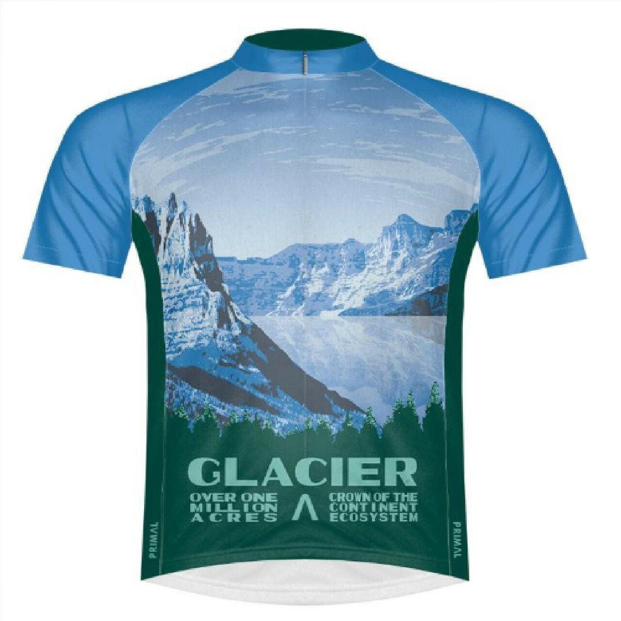 Primal Wear Glacier National Park Full Zip Short Sleeve Sport Cycling Jersey