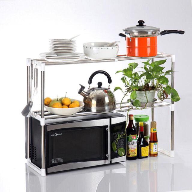 Universal Microwave Oven Stainless Steel Shelf Storage Rack Adjustable JR