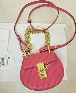 1602c006c5 Details about CHLOE Drew Bijou NANO shoulder bag NEW CROSSBODY Fucshia rose  QUILTED