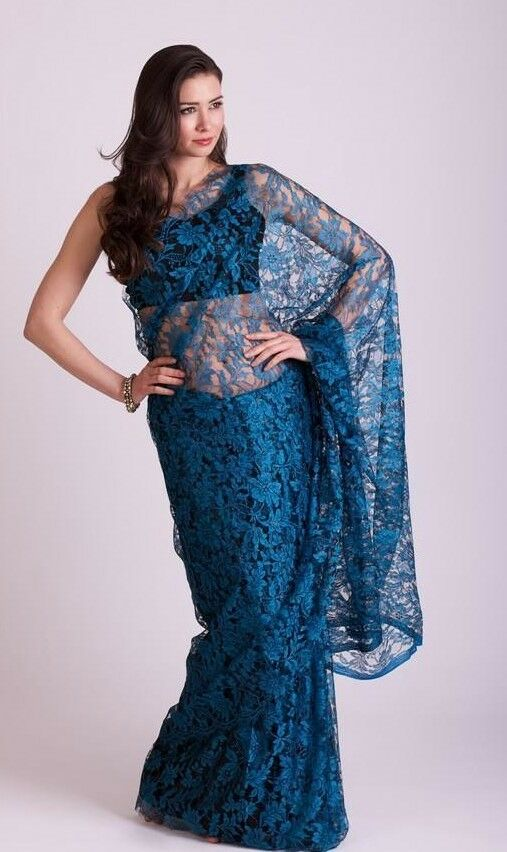 French Chantilly full Lace Saree designer indian latest bollywood vintage saris