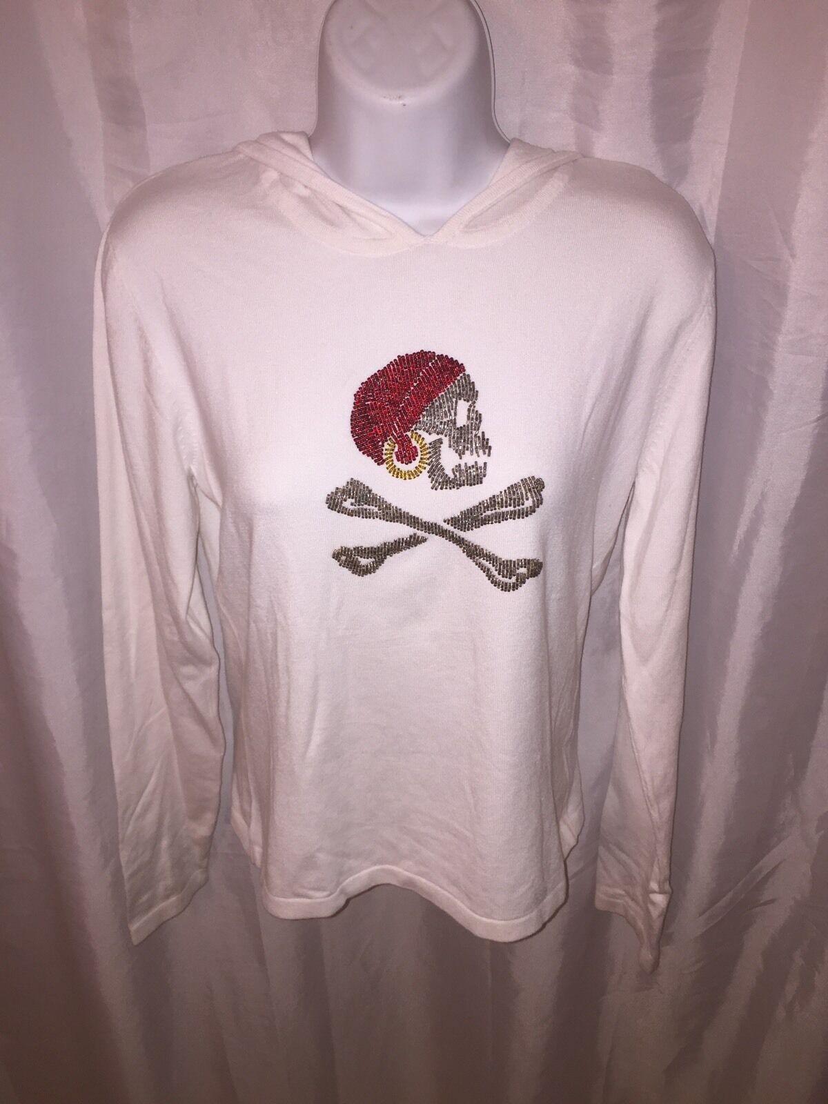 Nwt J. McGloughlin SIZE SMALL white cotton hoodie w beaded SKULL & X-Bones