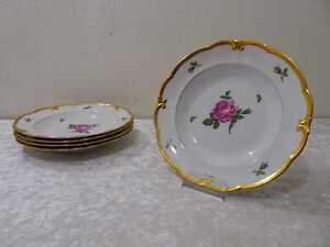 5 x DDR Design Ilmenau Porzellan Suppenteller Rosen Goldrand Vintage
