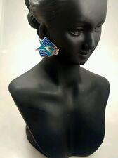 Very pretty Laurel Burch Siamese fish  blue enamel pierce   earrings