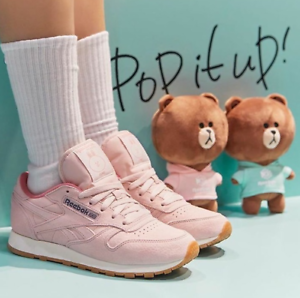 7d6cb10ee704 Line Friends x Reebok Classic Womens Leather Sneakers Athletic Shoes ...