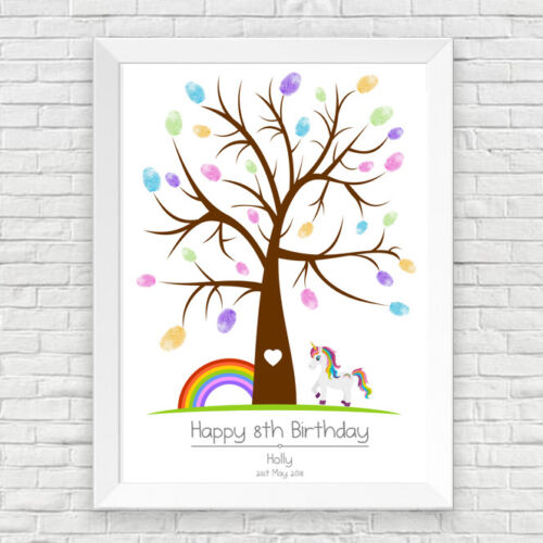PERSONALISED BIRTHDAY GIRLS BOY UNICORN FINGERPRINT TREE PARTY GAME GIFT