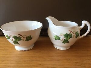 Colclough-Vintage-Bone-China-Green-Ivy-Milk-Jug-amp-Sugar-Bowl-Edged-In-Gold
