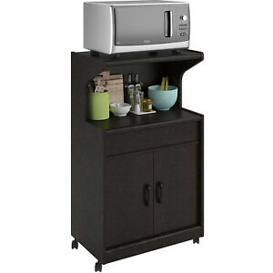Details About Rolling Microwave Cart Shelf Kitchen Storage Cabinet Island Stand Espresso New