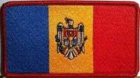 Moldova Flag Patch With Velcro® Brand Fastener Red Border