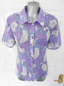 ❤ Patra Vintage Taille 10 (m) Mauve Floral Semi Sheer B/100% Soie Chemisier Top-afficher Le Titre D'origine