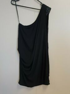 E981-WOMENS-MAJE-BLACK-ONE-SHOULDER-STRETCH-SILK-DRESS-UK-M-10
