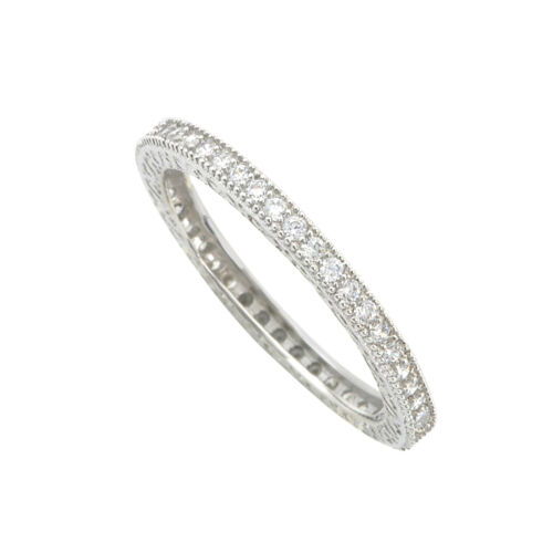 Sterling Silver Cubic Zirconia Eternity Ring 2mm Wide Band