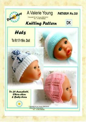 "216 *for BABYBORN or ANNABELL 16/""//17/""by Daisy May DOLLS KNITTING PATTERN"