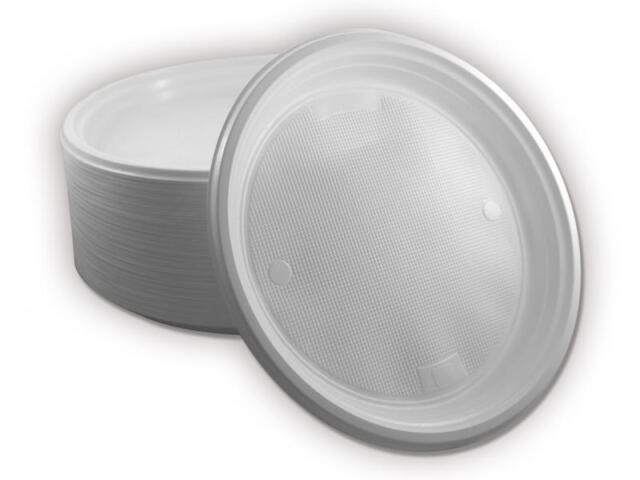 100 x Menüteller ungeteilt Plastikteller Einweg Teller Einweggeschirr weiß