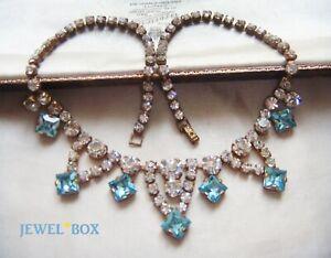 EARLY-VINTAGE-BLUE-AQUAMARINE-CRYSTAL-DIAMOND-RHINESTONE-ART-DECO-NECKLACE-GIFT