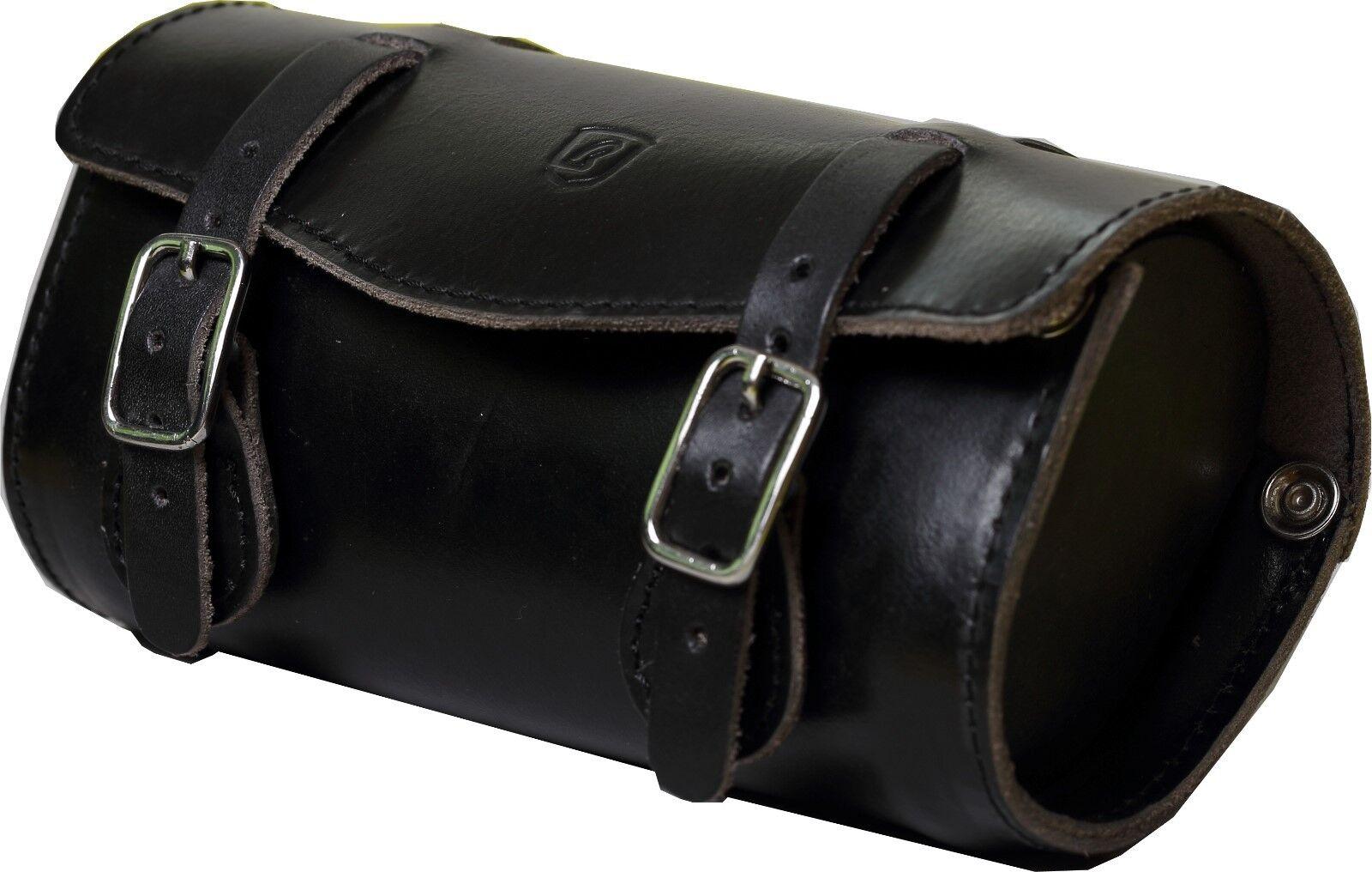 Borsa da Sella Brave Classic Buffalo in pelle nera piccola