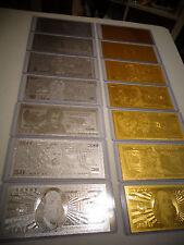 14 -GOLD & SILVER DOLLAR BILL SET $1-2-5-10-20-50-100 & EACH IN PVC BILL HOLDER