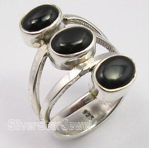 925-Pure-Silver-Amazing-BLACK-ONYX-3-Cabochon-Gemstone-BIG-FACE-Ring-Any-Size