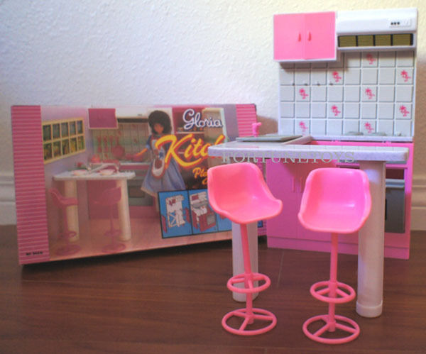 Gloria Doll Furniture Size Kitchen W Island Stools Playset For Barbie | EBay
