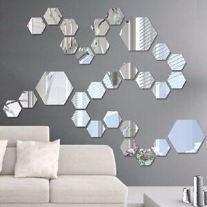 Wanddeko Spiegel 12x wandtattoo wanddeko wandsticker 3d silver hexago spiegel