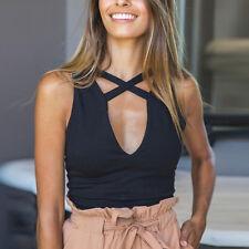 Black Women Tank Tops Bustier Bra Vest Crop Top Bralette Casual Blouse Size L