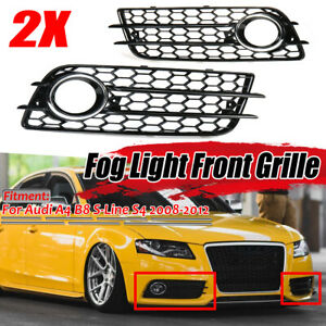 S-Line S4 Bumper Fog Light Grill Grille Cover For Audi A4 B8 08-12 Left +  */!